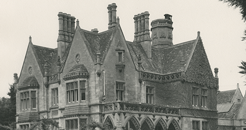Old photo showing exterior view of Dowty group headquarters, Arle Court | Gloucestershire Archives