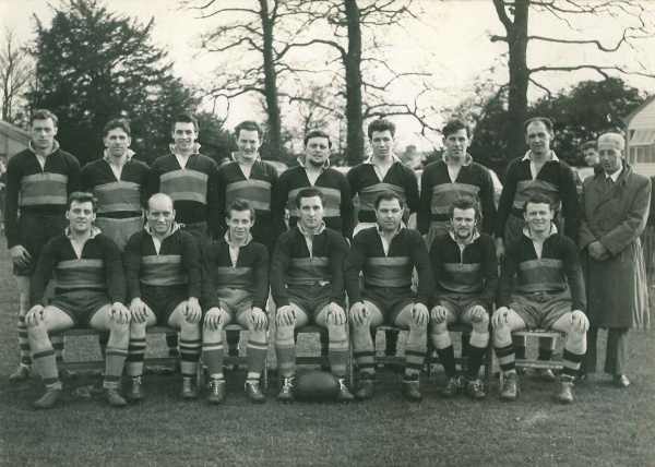 DOWTY RFC 1ST XV – 1959-60 Rear – K.Worgan, C.Large, D.Jones, P.Parkin, C.Davies, J.Mustoe, G.Missen, G.Wilce, F.Wheeler Front – B.Payne, J.Wood, K.Keys, J.Abbott (Captain), G.Barker, P.Parkin, D.Edwards | Dowty RFC