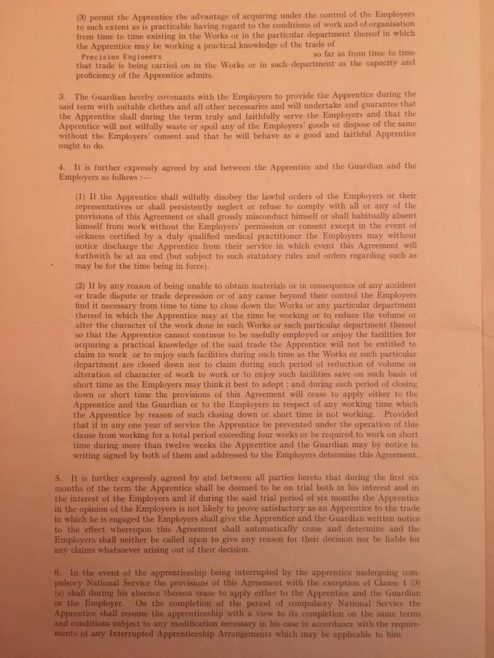 Photo of Copy of Apprentice Indenture Sheet 1 | J W Redfern