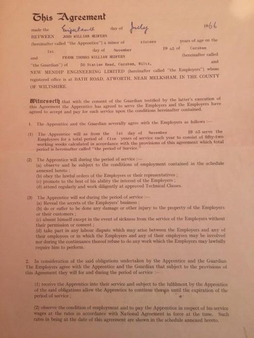 Photo of Copy of Apprentice Indenture Sheet 1 | J WRedfern