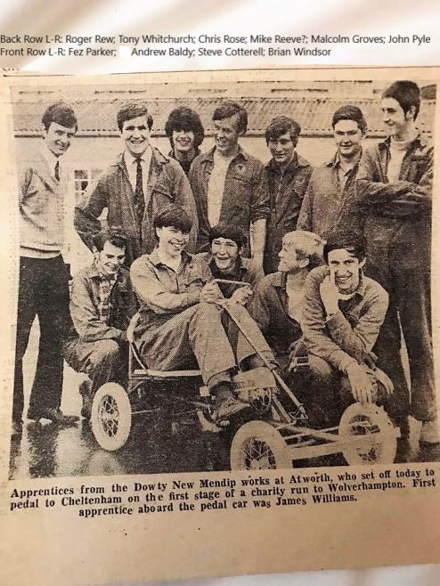 News clipping of New Mendip Engineering Apprentices charity pedal from Atworth to Wolverhampton | J W Redfern