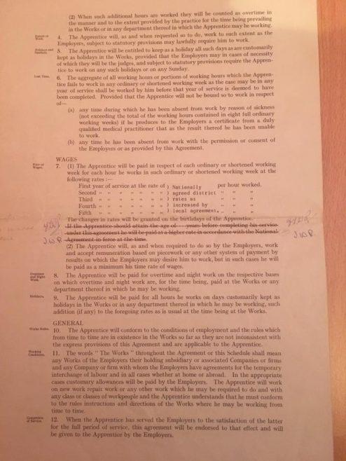 Photo of Copy of Apprentice Indenture Sheet 1   J W Redfern