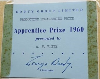 Dowty Group Services - photo of Production Engineering Prize 1960 to A P White