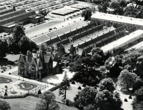 Aerial view of Arle Court, with factory buildings of Dowty Hydraulics and Dowty Fuel Systems