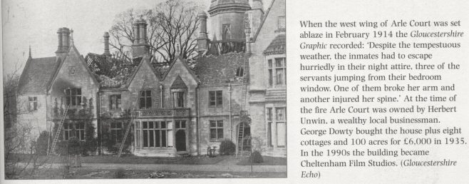 Arle Court House in 1914 blaze