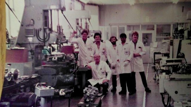 Dowty Fuel Systems Machine Shop - Pictured: Larry Baker, Andy Phaure, Steve McIlroy, Arvind Patel, Steve Artus and Geoff Daff.