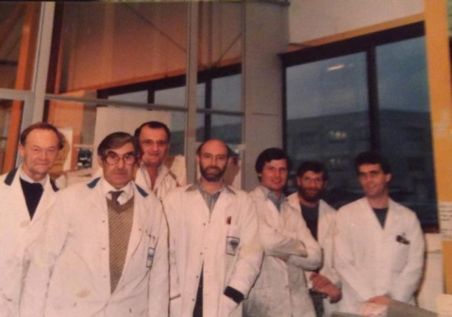 Dowty Fuel Systems Process Shop Jan1985 L-R: R Hughes , A Mc Gill, Roy Hopkins, D Butler, D Heath, P Mansfield