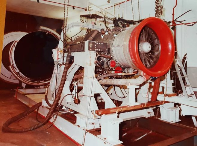 Dowty Fuel Systems - Test Cell at Staverton showing a Spey Jet Engine