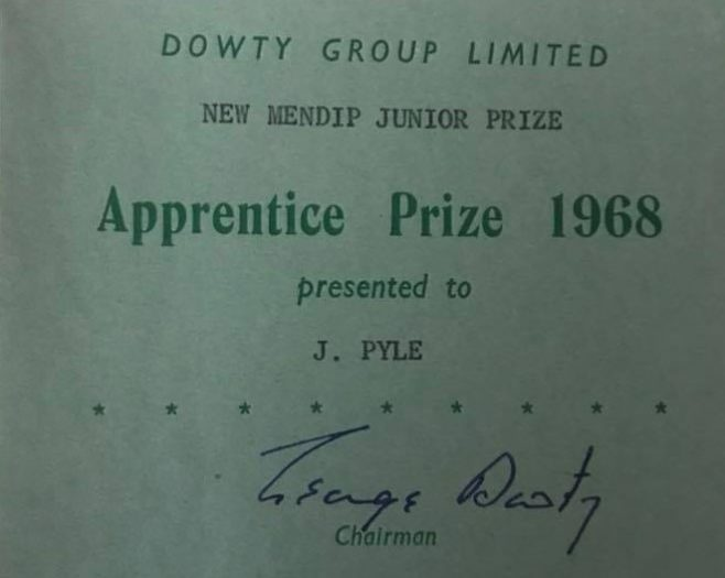 Dowty Group Services - photo of New Mendip Junior Prize 1968 Apprentice Prizegiving to John Pyle | J Pyle