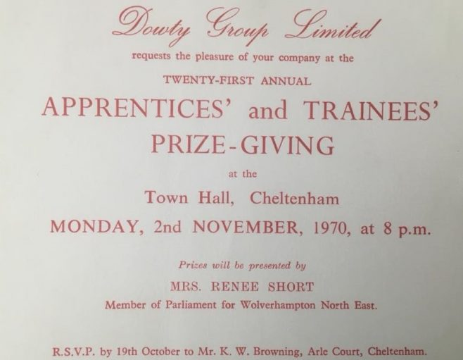 Dowty Group Services - Invitation to 1970 Apprentice Prizegiving | J W Redfern