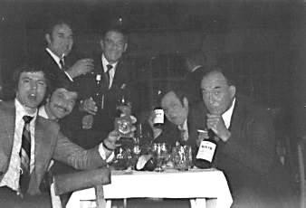 DGS Skittle Team @ Cheltenham Racecourse circa1972 L-R: John Redfern, ?, Jim Eustace, Arthur ? Paul Purser & Charlie Belcher