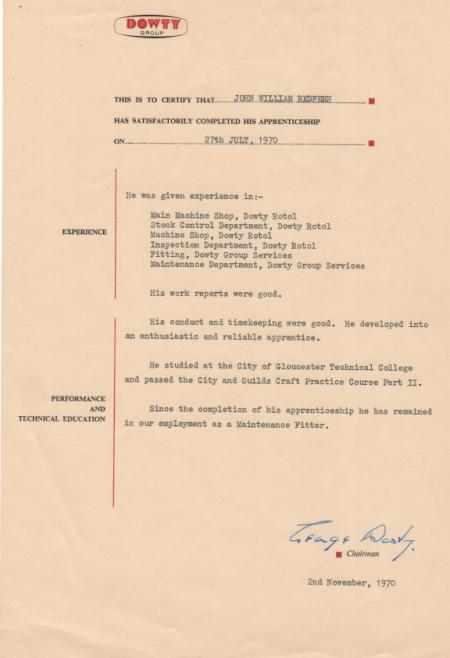 John Redfern 1970 - Apprentice Completion Certificate | John Redfern