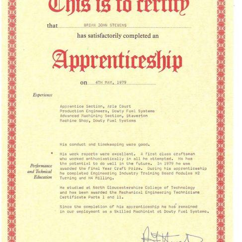 Brian Stevens 1979 - Apprentice Completion Certificate | Brian Stevens