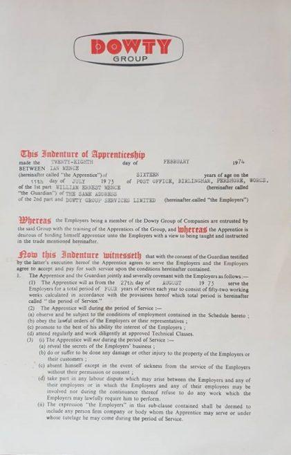 Ian Mence 1974 - Apprentice Indenture Agreement   Ian Mence