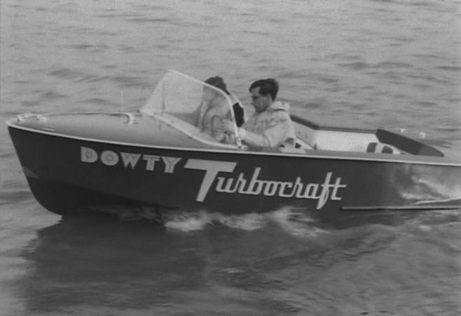 "A 14' 9"" Dowty Turbocraft powered by a Ford Zephyr 2500 cc straight 6 cylinder engine being demonstrated on the River Thames in London, circa 1958."