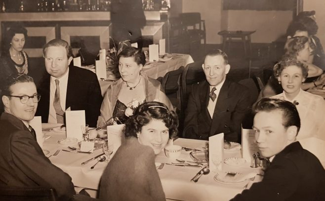 Dowty Christmas event between 1955 and 1960. Les Walton, back right, worked in the wages department at Arle Court and the Time/Wages office at Rotol.
