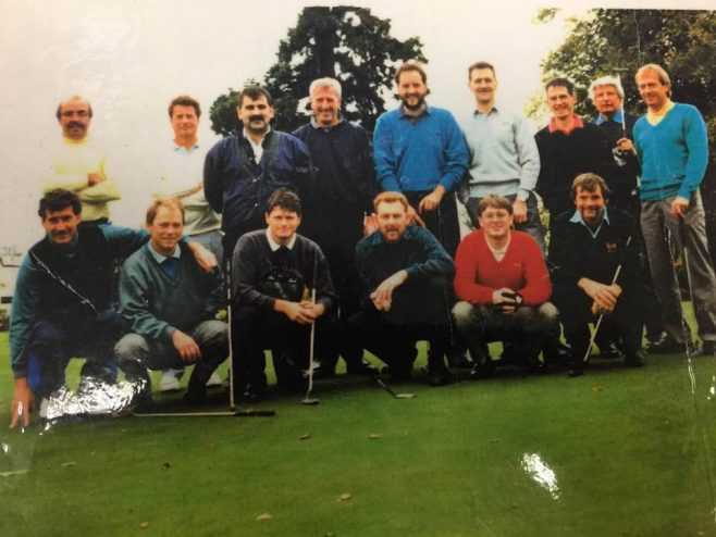 Dowty Repair and Overhaul golf day Tewkesbury Park featuring Back L-R: Phil Payne; Mike Sage; Tony Colucci; John Morris; Paul Meek; Paul Brown; Rich Russell; Gordon Child; Mike Plumb Front L:R: Charlie Taylor; Stewart Russell; Mark Leadbeater; Steve Powell; Rich Lloyd; John Maquire