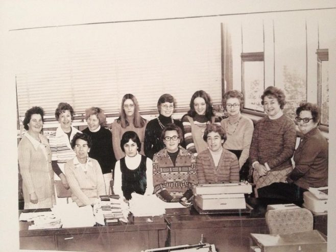 Dowty Seals Typing Dept. 1976 Standing L-R: Jo Townsend; Enid Williams; Chris Yarnold; Jill Streleska; Margaret Brown; Lyn Williams; Mary Carr; Doris Shakespeare, Daphne Hartland Seated L-R: Ellen Foster; Jenny Judge; Betty Palmer; Jean Carlyon