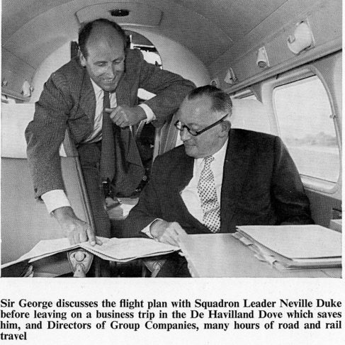 Sir George Dowty & Neville Duke on board the Dove Aeroplane.