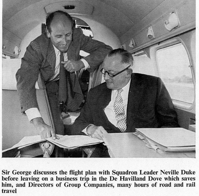 Sir George Dowty & Neville Duke on board the Dove Aeroplane.