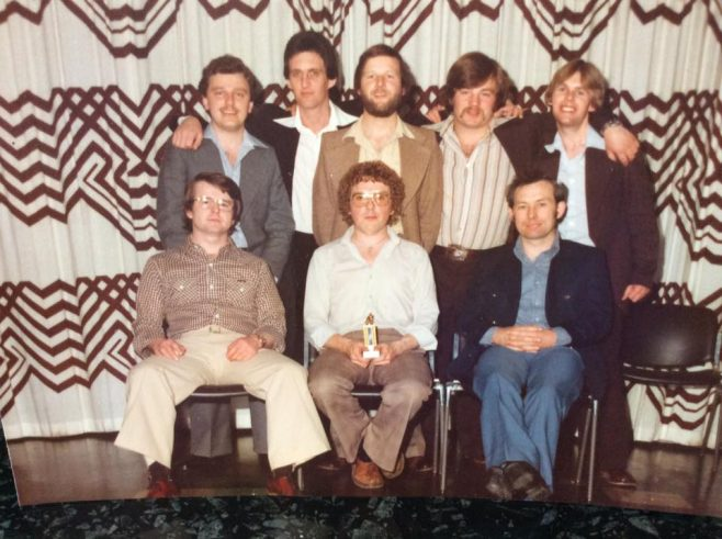 Dowty Hydraulics skittle team dinner at Cheltenham racecourse 1978