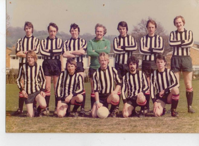 The Court - Football Team 1980 This was a independent team set up by a number of former Dowty Arle Court players. Mike waring (Goalie) with Mike Mitchell; Andy Price; Tim Richards