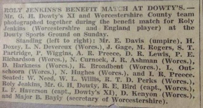 Roly Jenkins benefit at Dowty's George Dowty X1 v Worcester CC