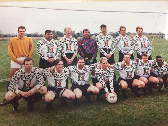 Dowty Repair - Inter-Departmental Football Team 1990-91 featuring: Back L-R: Justin Dowle; Tony Colucci; Mark Williams; John Maquire; Charlie Taylor; Rich Venn; Steve Powell Front L-R: Chris Kenwood; Dean Swinford; Gareth Rossiter; Simon Probyn; Rich Lloyd; Gary Murdoch; Paul Brown