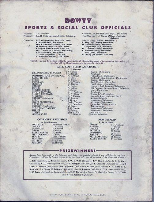 Dowty Sports & Social Club Officials