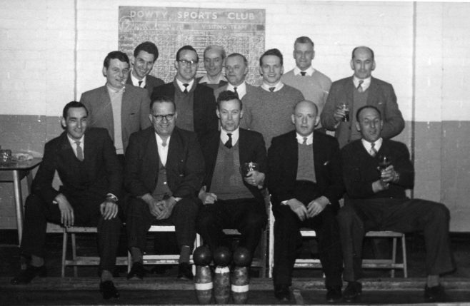 Rotol Experimental Department Skittle Team. Front L-R Don Wakefield; Centre Ernie Roberts, 2nd from right Peter Britten