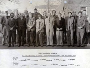 Cranfield College of Technology 1977. Some DFS engineers sent on a course with some others from Germany and Italy. The DFS guys are back row; 1, 3, 5, and 6. Front row; 1, 2, 4, 5. 7 and 8..