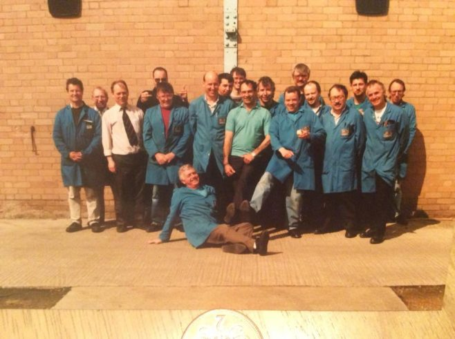 Dowty Rotol - Repair Department featuring: Mike Sage; Tony Stokes; Stu Russell; Colin Dewick; Paul Meek; John Taylor; Mark Bedney; Steve Moore; Mike Parker; Adrian Watts; Phil Morris; Pat Smith; Rich Gibbons; Geoff Tandy; Gary Caswell; Alan Hopson; Bob Ambury; Dave Gambrell (sitting)