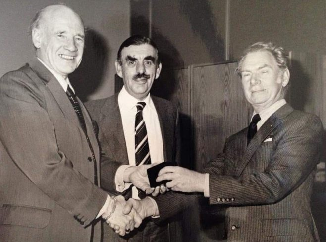 Sid Tanner machinist DFS Arle Court being presented with retirement and long term service Award in 1980. | Paul Tanner