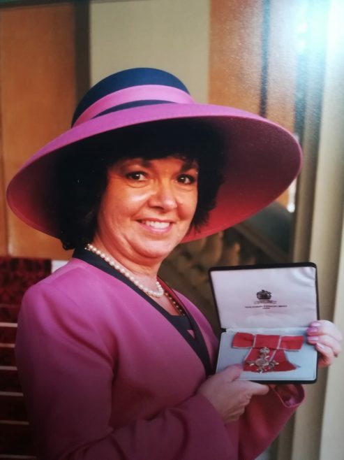 Sandra Whitehead MBE taken at Buckingham Palace after receiving her honour in 1997 for services to aviation | Sandra Whitehead