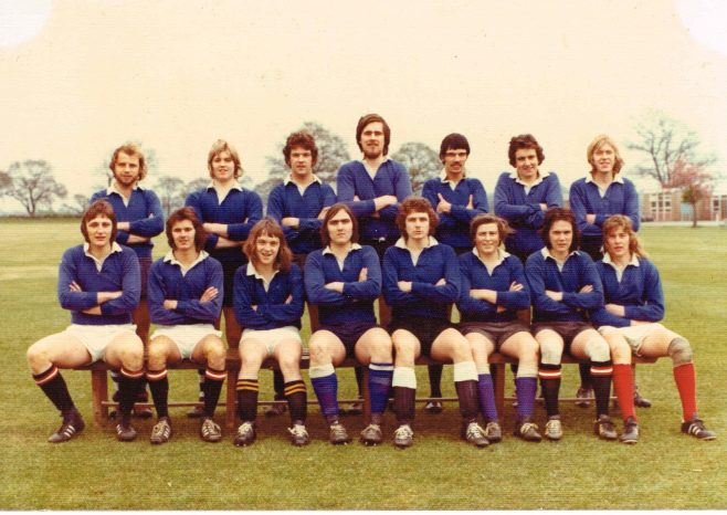 Dowty Apprentice Rugby Team 24 April 1974 Seated L-R: Dave Hulbert; Ron Summers; Bomber Aubrey; Rob Newton; Wally Watkins; Simon Tolley; Bob Hudson; Rob Baker. Standing L-R: Dave Pearce; Dave Baldwin; ??; Ron Cook: ??; John Evans | Simon Tolley