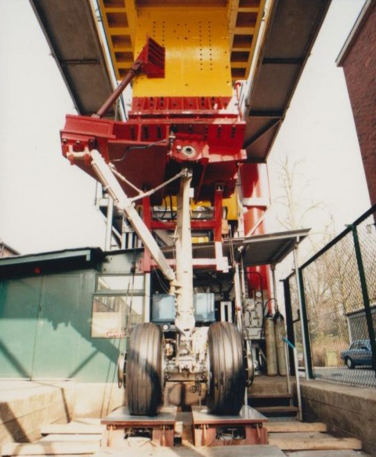 Arle Court - Undercarriage Drop Test Rig | Original photo in the Dowty archive at the Gloucestershire Heritage Hub