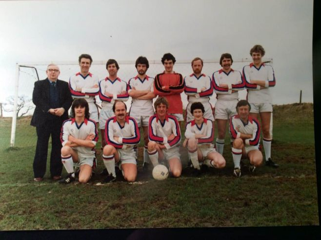 Back Row: Andy McQuarrie, Pete Willis, Me, Andy Brown?, Angus Dulake, Rick and ??? Front Row: Graham Bendall, Rich Morgan, Terry Cerrone, Chris Chant and Alec Herbert ?? Frank Griffiths is 'The Manager' he was Steward of the Dowty Staverton clubhouse at the time with his wife Kay.  | Rick Washbourne