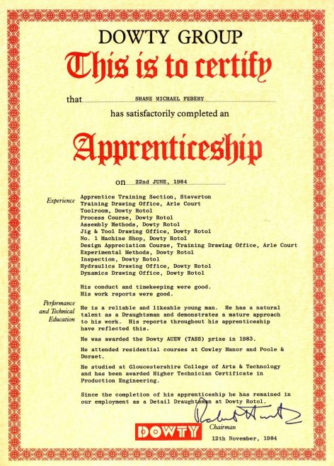 Shane Febery 1984 - Apprentice Completion Certificate  | Shane Federy