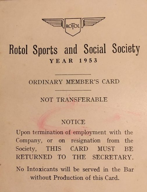 Rotol Sports & Social Membership Card 1953 | Colin Manton