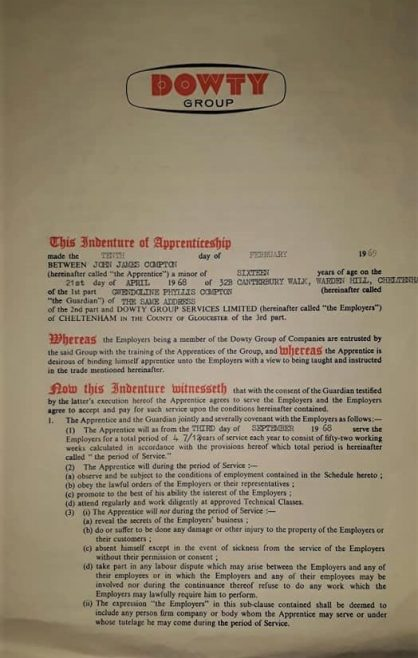 John Compton 1969 - Apprentice Indenture Agreement | John Compton