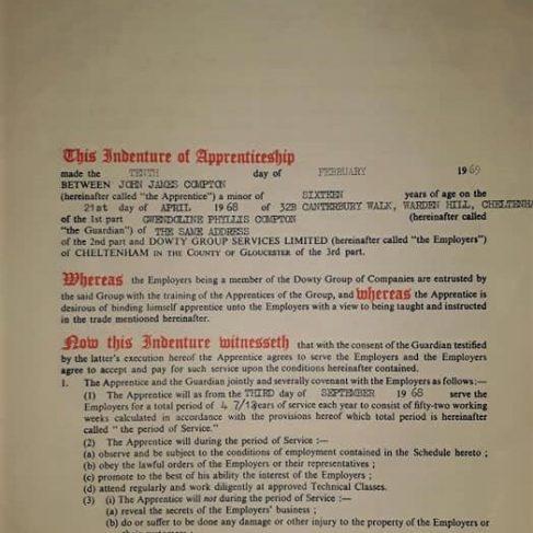 John Compton 1969 - Apprentice Indenture Agreement | John Compton