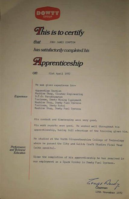 John Compton 1972 - Apprentice Completion Certificate  | John Compton