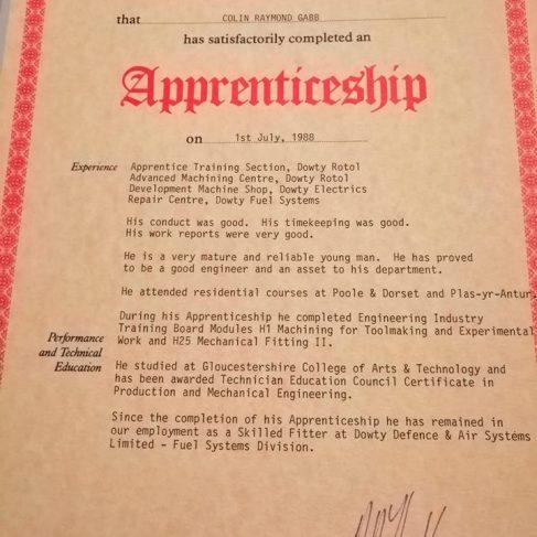 Colin Gabb 1988 - Apprentice Completion Certificate | Colin Gabb