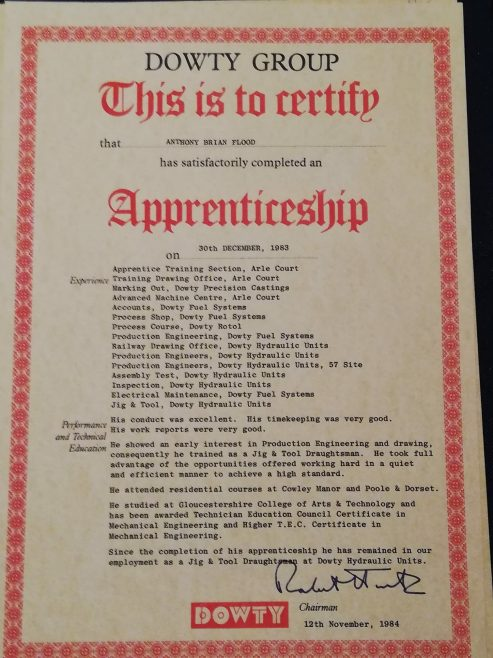 Anthony Flood 1983 - Apprenticeship Completion Certificate  | Anthony Flood