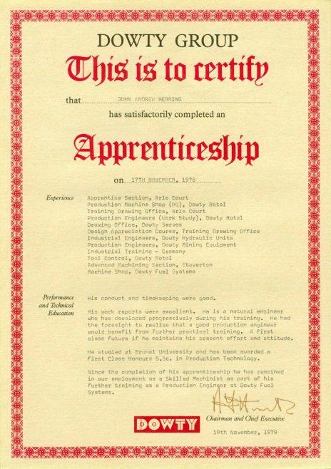 John Herring 1978 - Apprentice Completion Certificate  | John Herring