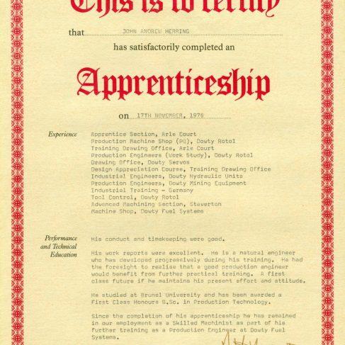 John Herring 1979 - Apprentice Completion Certificate  | John Herring