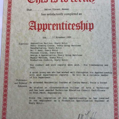 Darren Newman 1989 - Apprentice Completion Certificate | Darren Newman