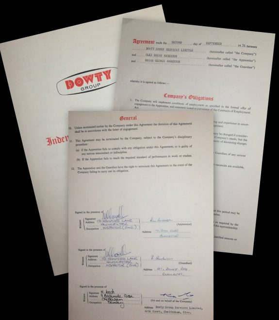Alex Anderson 1976 - Apprentice Indenture Agreement | Alex Anderson