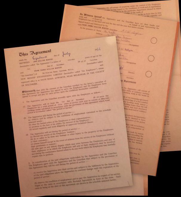 John Redfern 1966 - Apprentice Indenture Agreement | John Redfern
