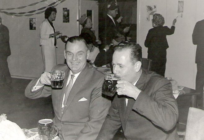 Percy Brown (on the right), having a drink with a work colleague  | Colin Brown